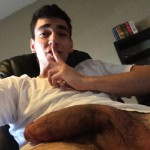 Webcam Guy Showing His Semi Hard Cock