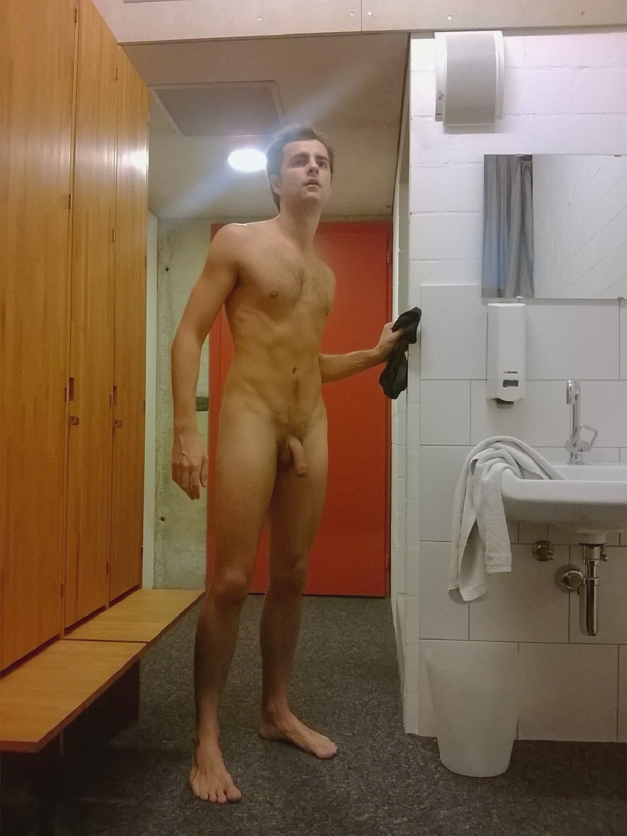 Nude college guys shower